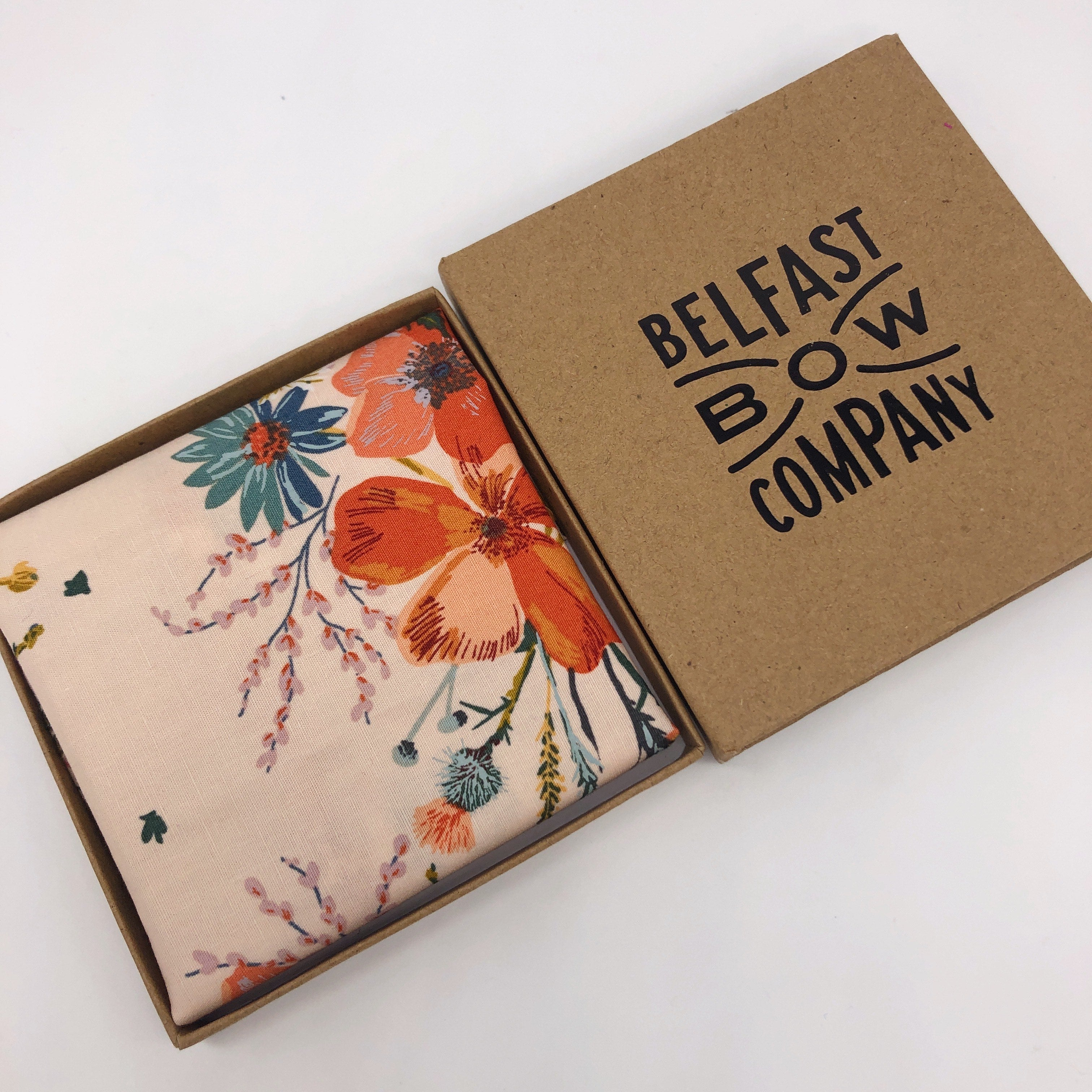 Boho Floral Pocket Square in Nude by the Belfast Bow Company