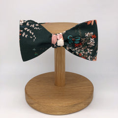 Boho Floral Self-Tie Bow Tie in Dark Green by the Belfast Bow Company