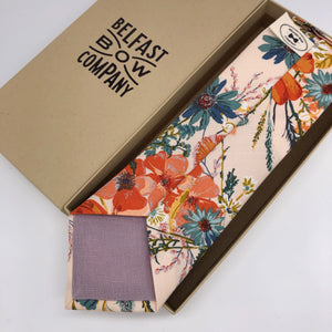 Boho Blooms Tie in Blush Nude Floral by the Belfast Bow Company