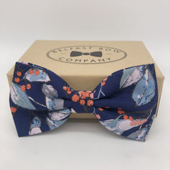 Boho Bow Tie in Navy Large floral by the Belfast Bow Company