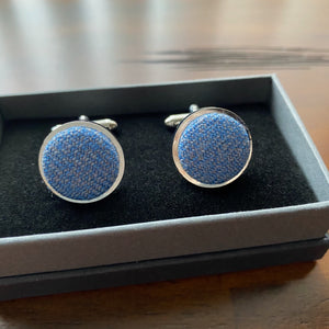 Blue Cufflinks in Islay Tweed