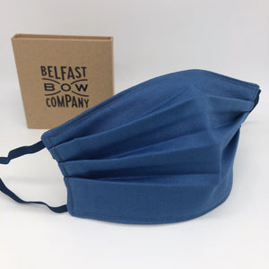 Plain Cotton Face Mask in Slate Blue Oxford Cotton by the Belfast Bow Company