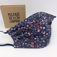 Liberty of London Face Mask in Navy Floral by the Belfast Bow Company - Washable and three layers