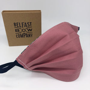 Handmade Face Covering in Dusky Pink by the Belfast Bow Company