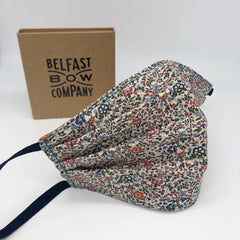 Liberty Face Mask in Orange Floral for women by the Belfast Bow Company