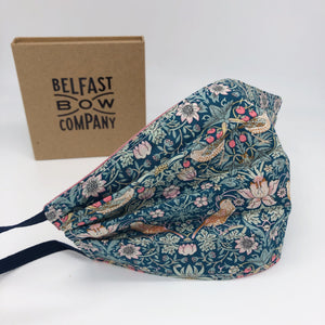 Liberty of London Face Mask in Strawberry Thief for women by the Belfast Bow Company