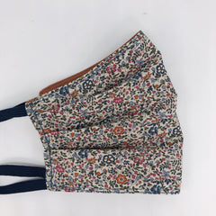Liberty Face Mask in Burnt Orange Floral Cotton washable for women by the Belfast Bow Company