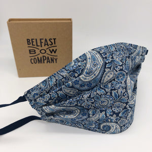 Men's Fashionable Face Mask in Navy Paisley Washable by the Belfast Bow Company