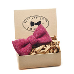 Harris Tweed Dicky Bow Tie in Raspberry by the Belfast Bow Company