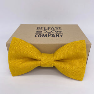 Mustard Yellow Bow Tie in Irish Linen
