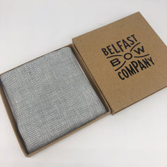 Irish Linen Pocket Square in Grey Herringbone by the Belfast Bow Company