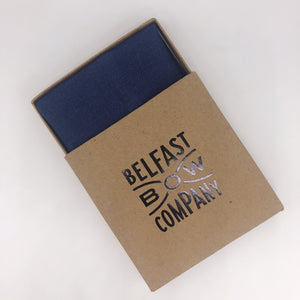 Irish Linen Men's Handkerchief in Navy Blue by the Belfast Bow Company