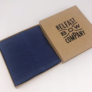 Irish Linen Pocket Square in Navy Blue by the Belfast Bow Company