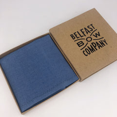 Irish Linen Pocket Square in Slate Blue by the Belfast Bow Company