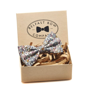 Liberty of London Dicky Bow Tie in Fig Floral by the Belfast Bow Company Gift Boxed
