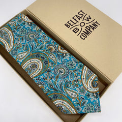 Liberty of London Tie in Teal Paisley by the Belfast Bow Company