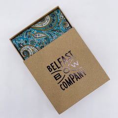 Liberty of London mens handkerchief in Teal Paisley by the Belfast Bow Company
