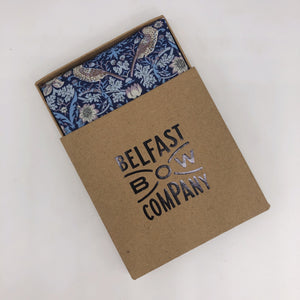 Liberty of London Pocket Square in Navy Strawberry Thief by the Belfast Bow Company