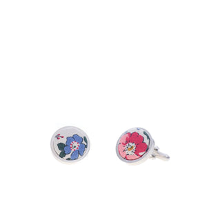 Liberty of London Cufflinks in Pink and Blue Floral by the Belfast Bow Company