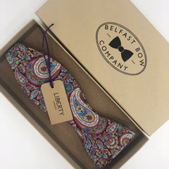 Liberty of London Self Tie Bow Tie in Burgundy Paisley by the Belfast Bow Company