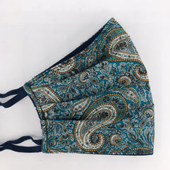 Liberty Face Mask in Teal Paisley