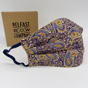 Liberty of London Face Mask in Purple Paisley by the Belfast Bow Company - washable, triple layered