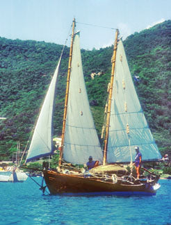 Cowhorn sailboat in the Virgin Islands