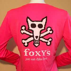 Foxy's 'Skull & Bones' Ladies V-neck Longsleeve Performance Tee