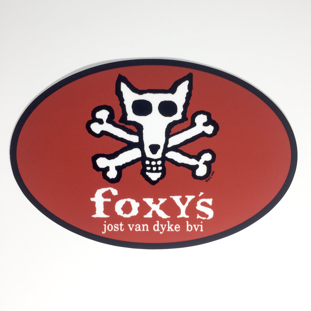 Foxy's Skull & Crossbones Euro Oval Sticker/4 Colors