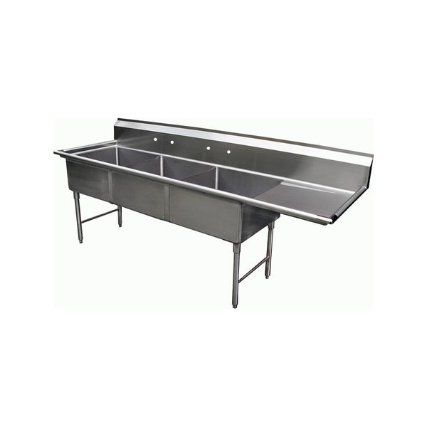 Blue Air BS3-18-12/R 3 Compartment Sink - Right Drainboard