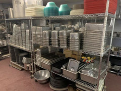 100 Of USED Pots & Pans , Small Wares , trays
