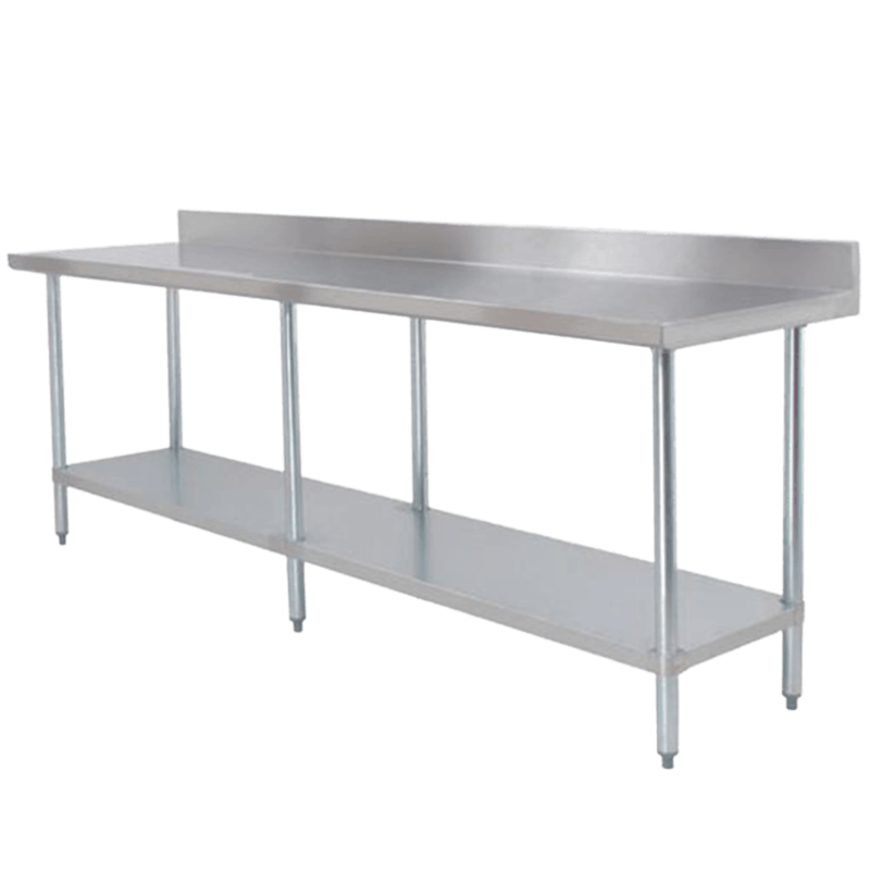 Thunder Group SLWTF X Stainless Steel Work Table - Stainless steel work table with backsplash