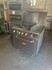 "Used Serv-ware 12"" Griddle w/ 4 Burners & Gas Oven"