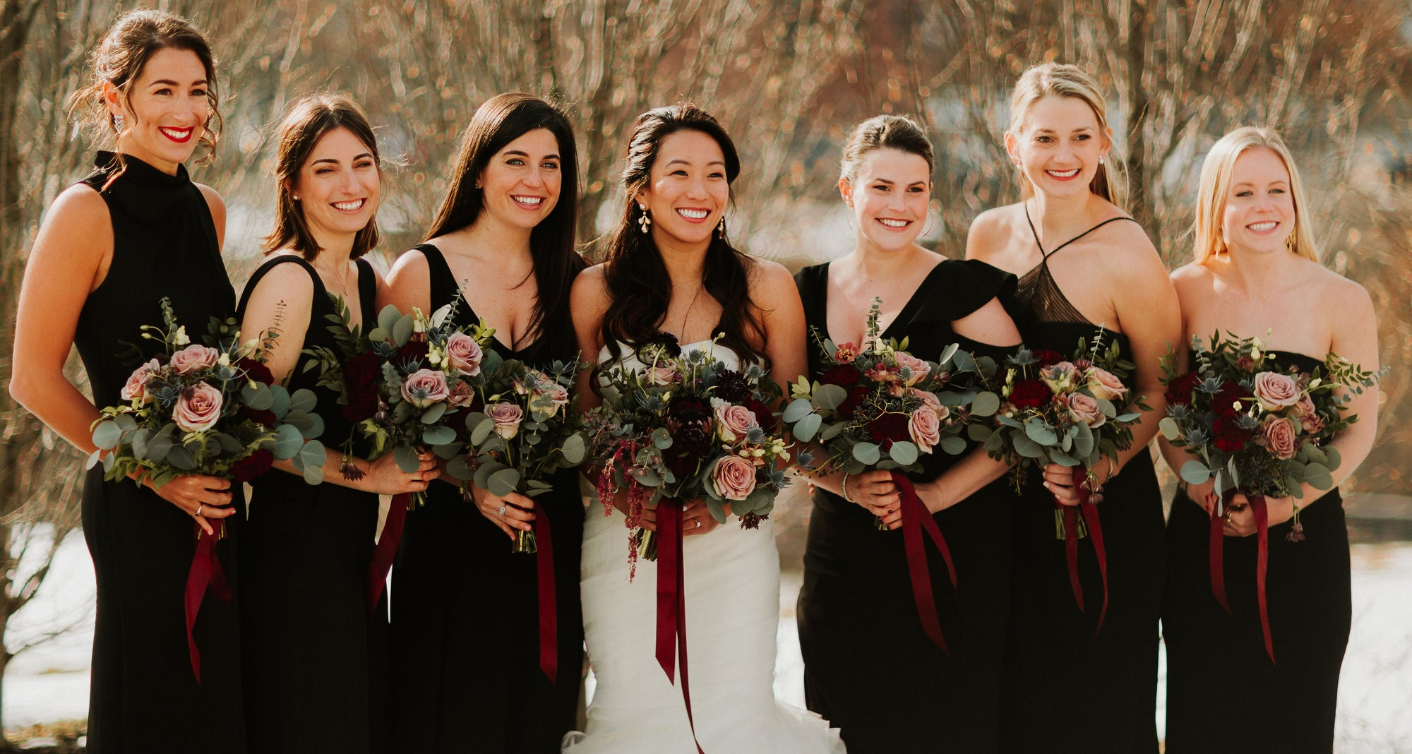 Winter Wedding at The Roundhouse in Beacon, NY in the Hudson Valley. Burgundy and blush bridal bouquet.