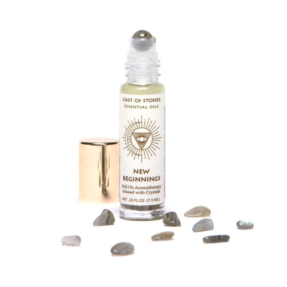 New Beginnings - Essential Oil Roller infused w/Crystals