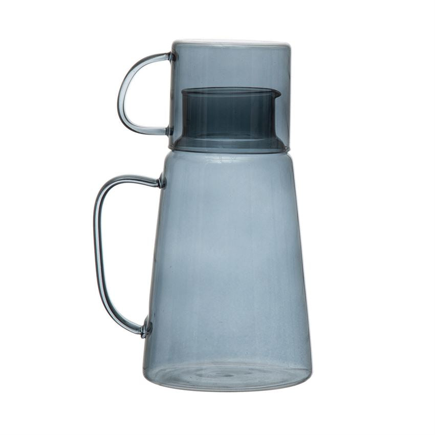 Blue Glass Carafe with Mug