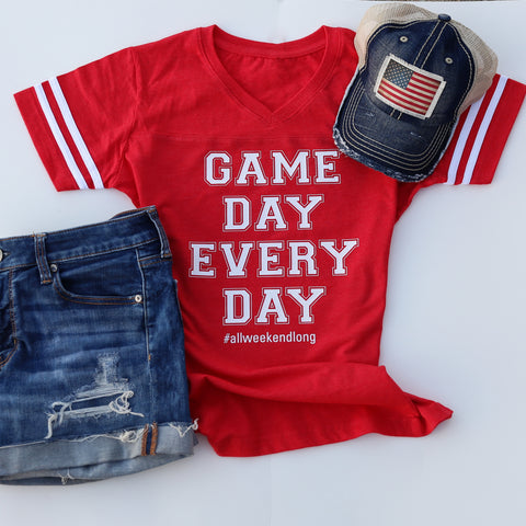 Game Day Every Day  Women's V-Neck Jersey