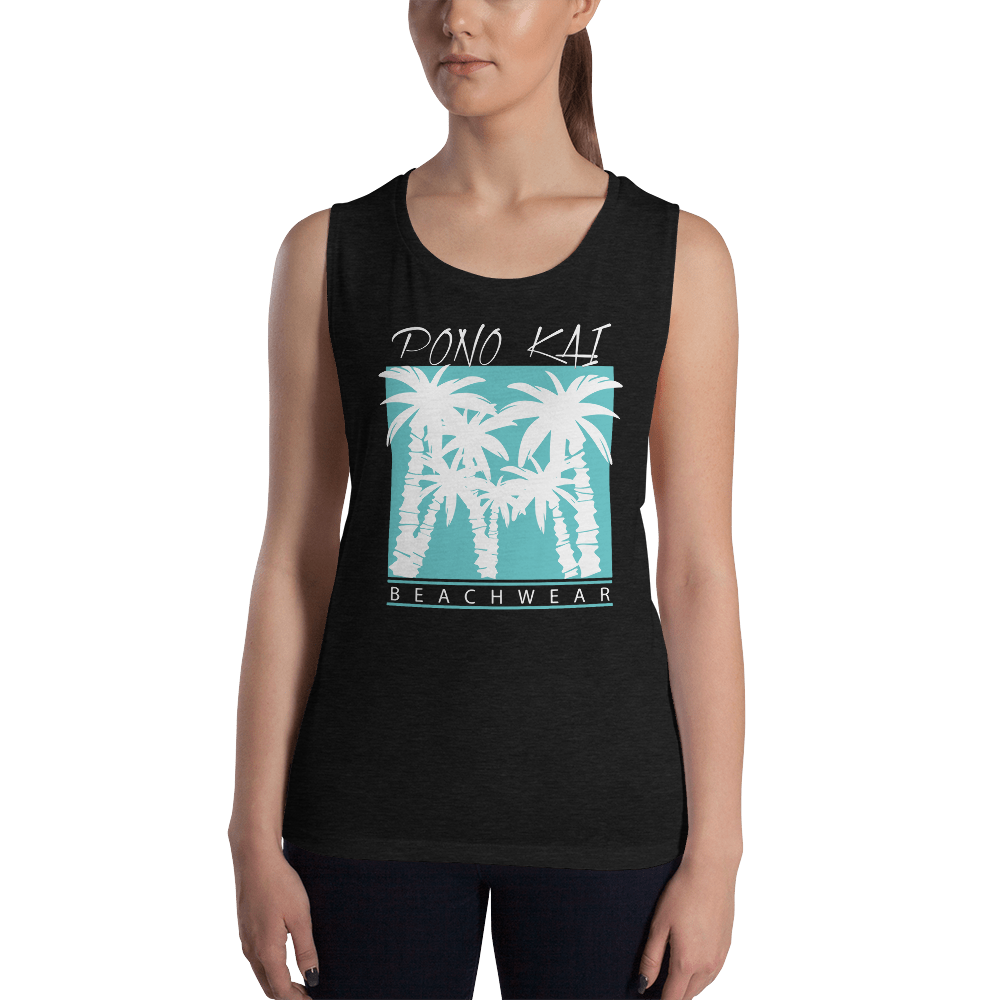 Pono Kai Blue Palms2 Ladies' Muscle Tank