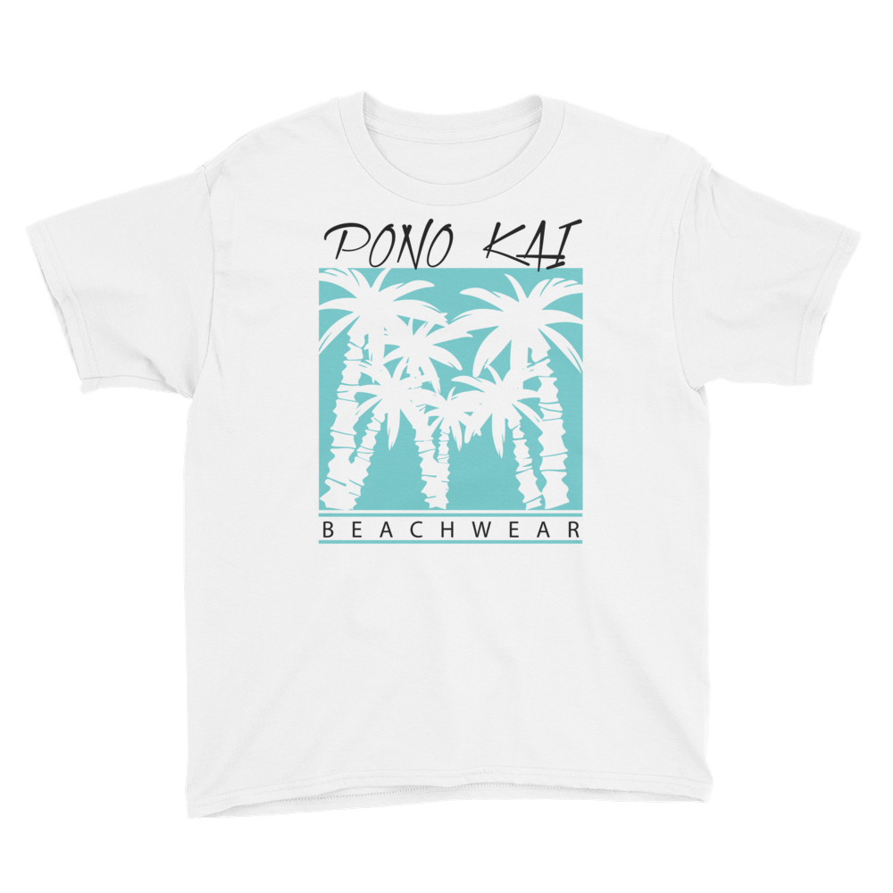 Pono Kai Blue Palms Youth Short Sleeve T-Shirt