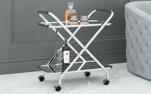 Bar Serving Cart - Black | Chrome