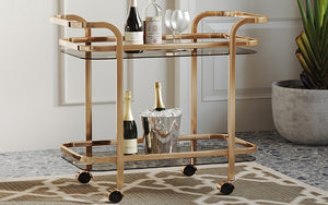 Bar Serving Cart - Chrome | Gold