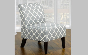 Accent Chair Quatrefoil Design Fabric with Wooden Legs - Grey | Green