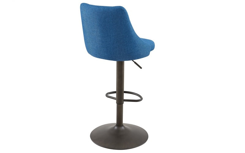 Bar Stool With Winged Back & 360° Swivel Fabric Seat - Blue | Grey | Beige | Black