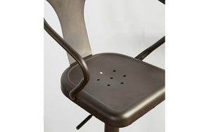 Bar Stool With Industrial Design and 360° Swivel Seat - Gun Metal Grey