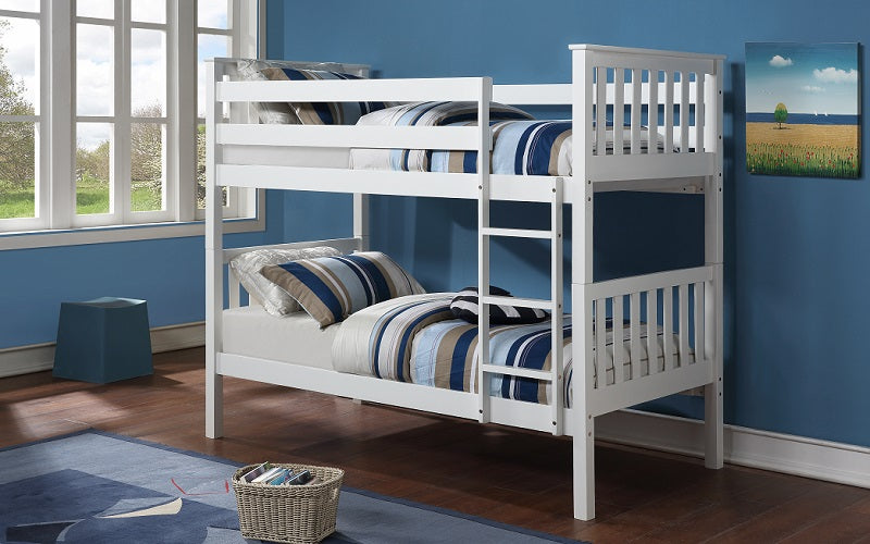 Bunk Bed - Twin over Twin Solid Wood - Espresso | White | Grey