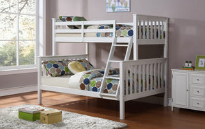 Bunk Bed - Twin over Double with or without Trundle Solid Wood - White | Grey
