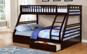 Bunk Bed - Twin over Double with 2 Drawers Solid Wood - Espresso