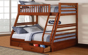 Bunk Bed - Twin over Double with 2 Drawers Solid Wood - Honey