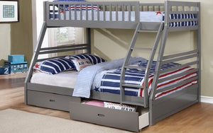 Bunk Bed - Twin over Double with 2 Drawers Solid Wood - Grey