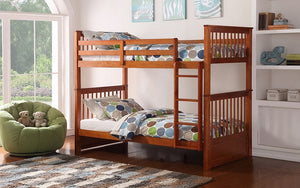 Bunk Bed - Twin over Twin Solid Wood - Grey | White | Espresso | Honey